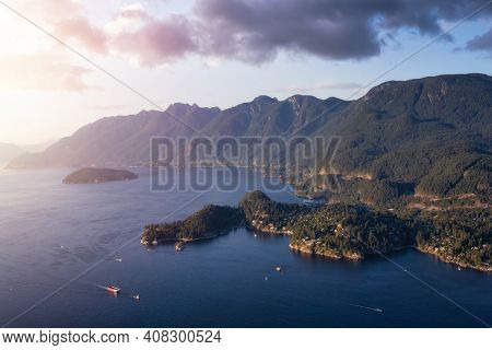 Aerial View Of Horseshoe Bay In Howe Sound During A Sunny Summer Evening. Sunset Sky Art Render. Loc