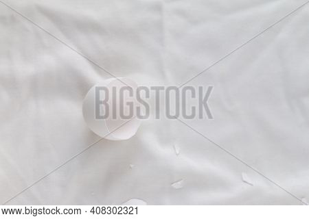 Broken Egg Shell On White Background With Space For Text, Begging Of Life Concept