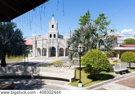 Panama, Gualaca Town February 2, Our Lady Of Los Angeles Church Located In Front Of The Ortega Munic