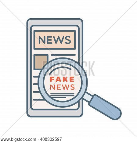 Fake News In News Application In Mobile Phone Vector Cartoon Outline Illustration Isolated On White