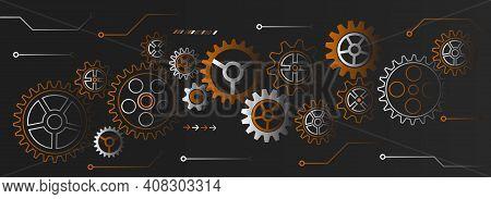 Hi Tech Gear Design Innovation Concept. Abstract Cogwheel Communication Vector Illustration. Wide En