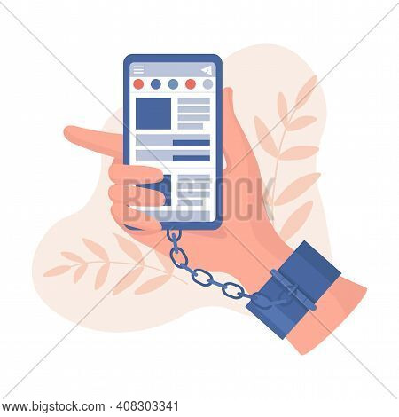 Hand In Handcuffs Holding Smartphone With Social Network Application Vector Flat Illustration. Chain