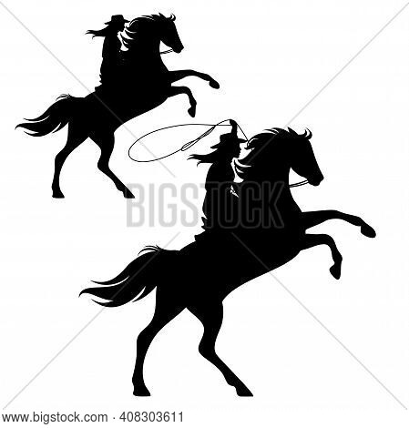 Cowgirl Riding A Horse And Throwing Lasso - Rearing Up Stallion And Woman Cowboy Black And White Vec