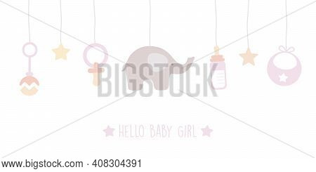 Baby Girl Welcome Greeting Card For Childbirth With Hanging Utensils Vector Illustration Eps10