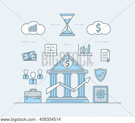 Online Banking Or Investing Application Vector Cartoon Outline Illustration. Icons Of Businessmen Av