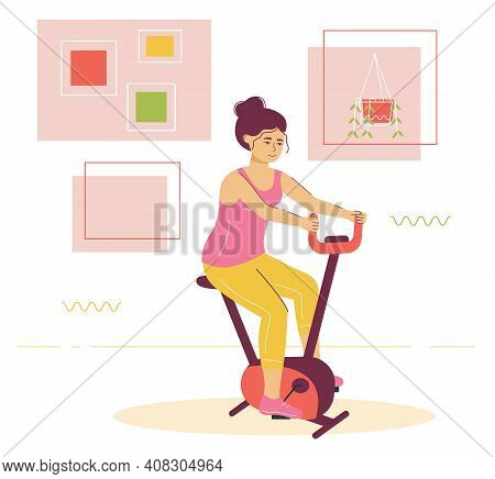 Young Woman On A Training Apparatus At Home. Flat Design Illustration. Vector