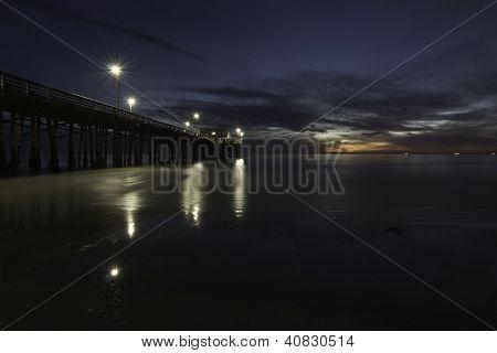 Ocean Pier At Twilight