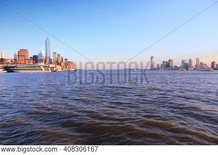 Hudson River View With New York And Jersey City Skyline.