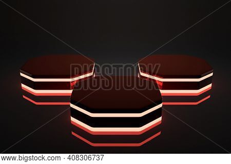 3d Rendering Thee Octagon Lightning Red Display Background Mock Up.