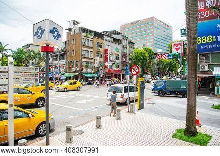 TAIPEI, TAIWAN - July 2, 2019: Street view of downtown in Taipei, Taiwan
