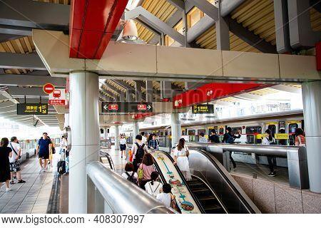 TAIPEI, TAIWAN - July 2, 2019: Taipei Subway Station in Taipei, Taiwan