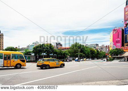TAIPEI, TAIWAN - July 2, 2019: Taxi on the streets of Taipei, Taiwan