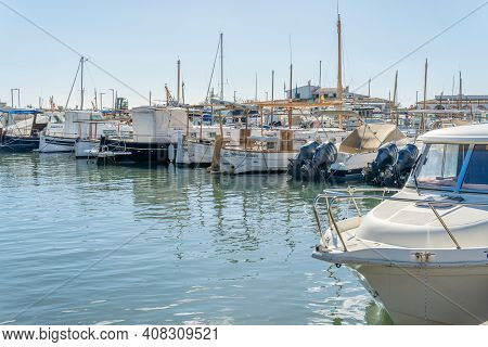 Colonia De Sant Jordi, Spain; February 13 2021: Traditional Mallorcan Boats On A Sunny Morning In Th