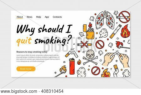Quit Smoking Cigarette Vector Landing Page Or Banner In Doodle Style. Concept Of Bad Habits For Nico