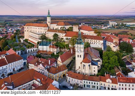 Aerial view of the Mikulov Castle and grounds at dawn in the South Moravia town of Mikulov in the Czech Republic.