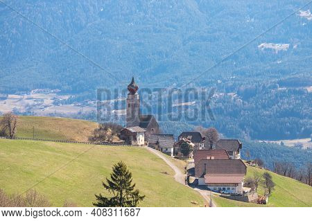 Church In Renon Ritten Bolzano Alps Italy, Sunny Day