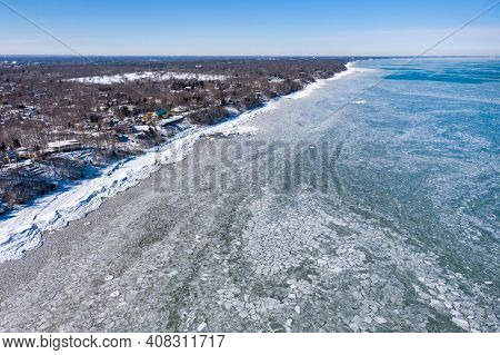 Aerial view of an icy Lake Michigan along the shoreline of Glencoe Beach after an intense cold spell.