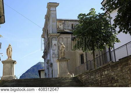 Lugano / Switzerland - June 01, 2019: San Lorenzo Church, Lugano, Switzerland, Europe