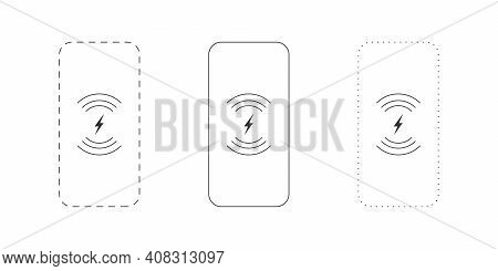 Wireless Chargers Icons. Wireless Charger Phone. Trendy Flat Wireless Charging. Vector Illustration