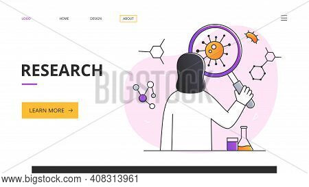 Scientific Research Concept With Young Woman Scientist Looking At The Coronavirus With A Magnifying
