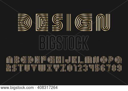 Luxury Gold Striped Font - Vector Design. English Alphabet - Creative Linear Latin Letters And Numer