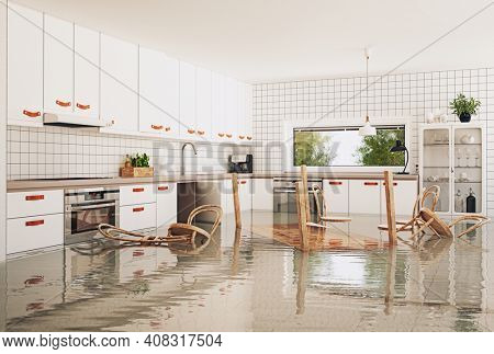 the flooding in the modern kitchen. 3d rendering concept creative idea