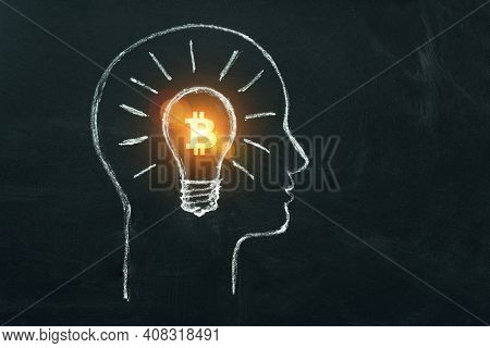 Bitcoin Business Idea. Cryptocurrency Symbol In Light Bulb In Head Of Businessman. Creativity, Think