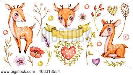 Cute Baby Deer. Vector Forest Watercolor Nursery Cartoon Woodland Animals Deer, Flowers Leaves. Ador