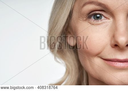 50s Middle Aged Old Woman Looking At Camera Isolated On White Background Advertising Dry Skin Care T