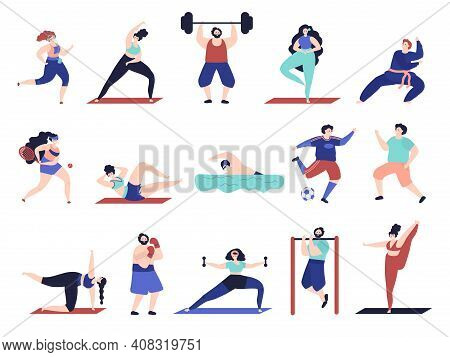 People Doing Sport. Workout Characters, Active Male Female Sport Exercise. Flat Friends Training, Te