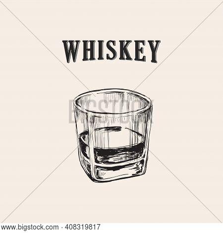 Whiskey Glass Hand Drawn Drink Illustration Whiskey Glass Hand Drawn Drink Illustration