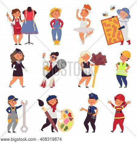 Kids In Uniform. Cute Children Occupations, Different Professional Work Teens. Cartoon Farmer, Singe