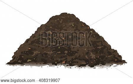 One Big Brown Heap Of Organic Compost In Side View Isolated Illustration, Fertile Soil For Growing G