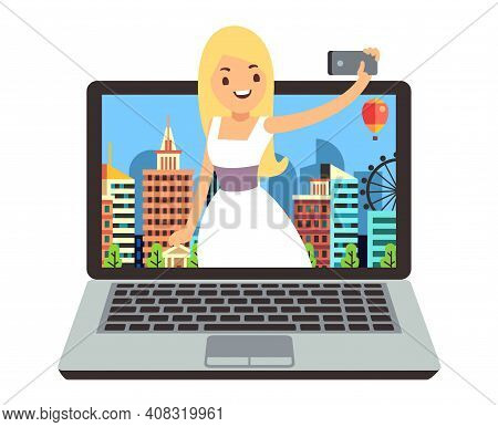 Vlog Or Blog. Girl Make Video Report For Subscribers. Young Woman Doing Selfie Or Smartphone Photo,