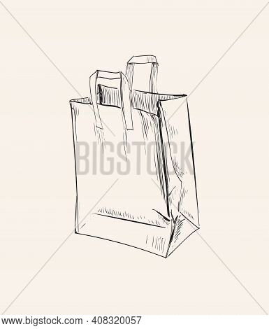Shopping Paper Bag Crumpled Vector Illustration Bag Paper Crumpled Vector Illustration