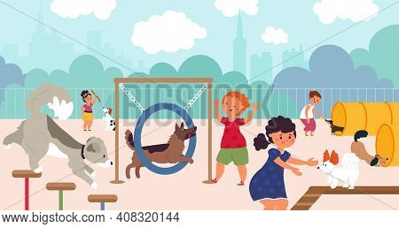Dog Playground. Pets Walk, Dogs Owners On City Park. Cartoon Puppy Friends Characters, Fun Guy Coach