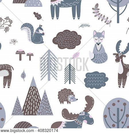 Cute Scandinavian Pattern. Wood Animals, Woodland Stylish Background. Baby Nursery Cute Print, Nordi