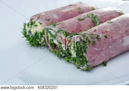 Ham Rolls Stuffed With Cheese, Garlic And Mayonnaise. Close-up Of Ham And Cheese Rolls For Design An