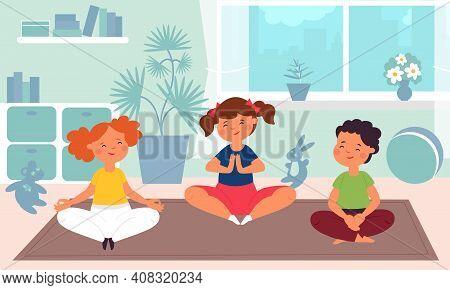 Kids Meditation. Children Yoga, Kindergarten Sport Class. Fun Child Training, Cartoon Healthy Medita