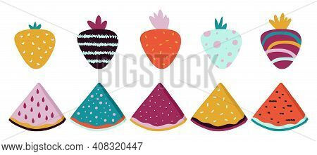 Trendy Fruits. Doodle Abstract Watermelon Strawberry With Texture. Isolated Contemporary Food, Brigh