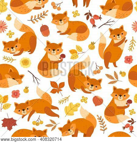 Cute Fox Pattern. Orange Foxes Print, Awesome Wild Forest Animal. Funny Woodland Wallpaper, Exact Ba