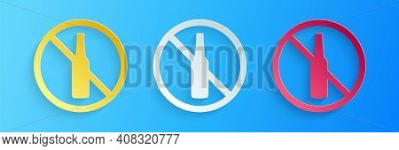 Paper Cut No Alcohol Icon Isolated On Blue Background. Prohibiting Alcohol Beverages. Forbidden Symb