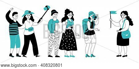 Tour Guide. Flat Travel Group, Tourist Tours Or Sightseeing Excursion. Isolated Characters On Vacati