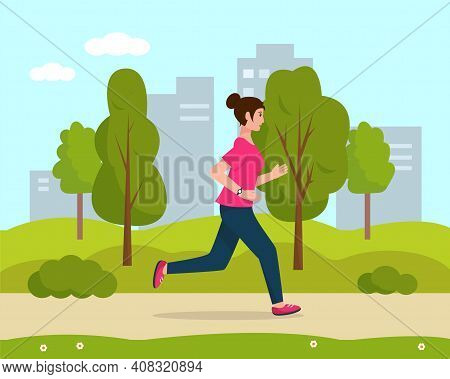 Young Woman Running In The City Park. Active And Healthy Lifestyle And Sports Outside Concept. Vecto