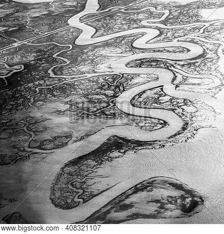 Aerial view of Venetian Lagoon