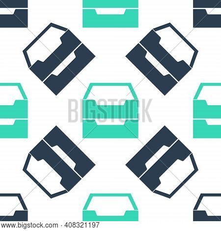 Green Drawer With Documents Icon Isolated Seamless Pattern On White Background. Archive Papers Drawe