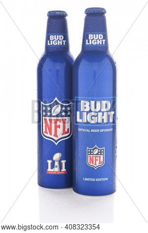 IRVINE, CALIFORNIA - JANUARY 13, 2017: Bud Light Aluminum Bottles. The resealable bottles feature the NFL and Super Bowl LI logos.
