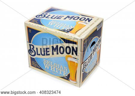 IRVINE, CALIFORNIA - 10 MAR 2020: A 12 pack of Blue Moon Belgian White Ale.