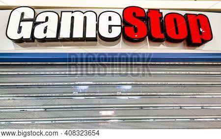 Bologna, Italy - Feb 15, 2021: Gamestop Retail Store In Bologna City. The Gamestop Corp. Is An Ameri