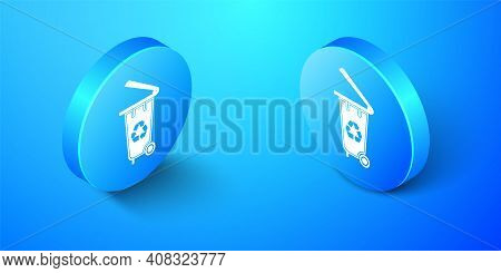 Isometric Recycle Bin With Recycle Symbol Icon Isolated On Blue Background. Trash Can Icon. Garbage